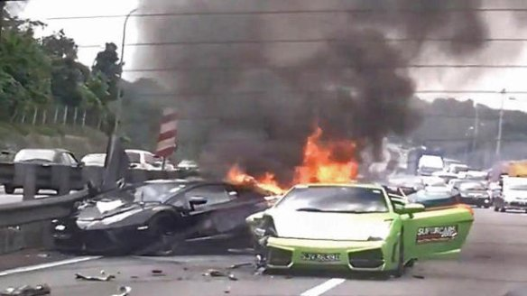 3 Lamborghinis burn in million-dollar wreck