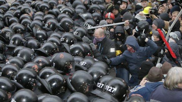 Ukraine Protest. Protesters clash with police at Presidential office in Kiev, Ukraine